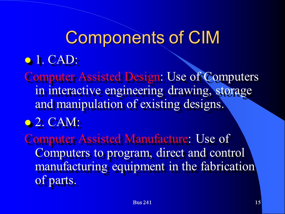 Components of CIM 1. CAD: