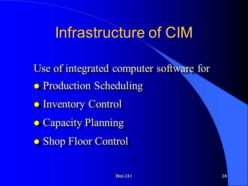 Infrastructure of CIM Use of integrated computer software for