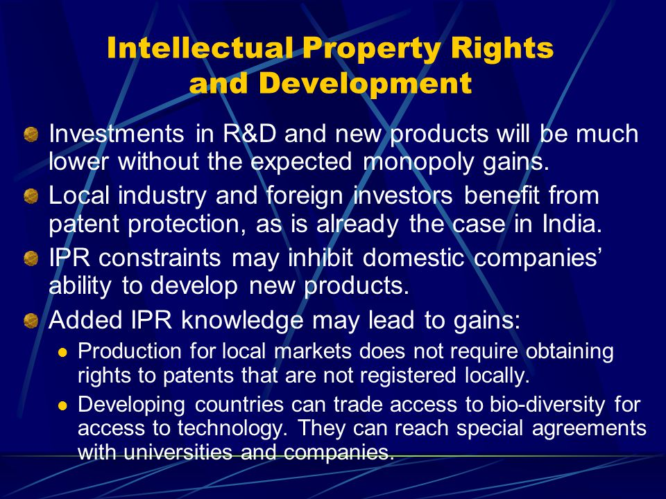 Intellectual Property Rights and Development