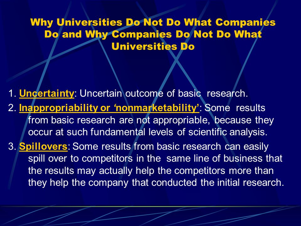 Why Universities Do Not Do What Companies Do and Why Companies Do Not Do What Universities Do