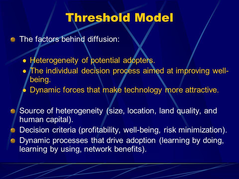 Threshold Model The factors behind diffusion: