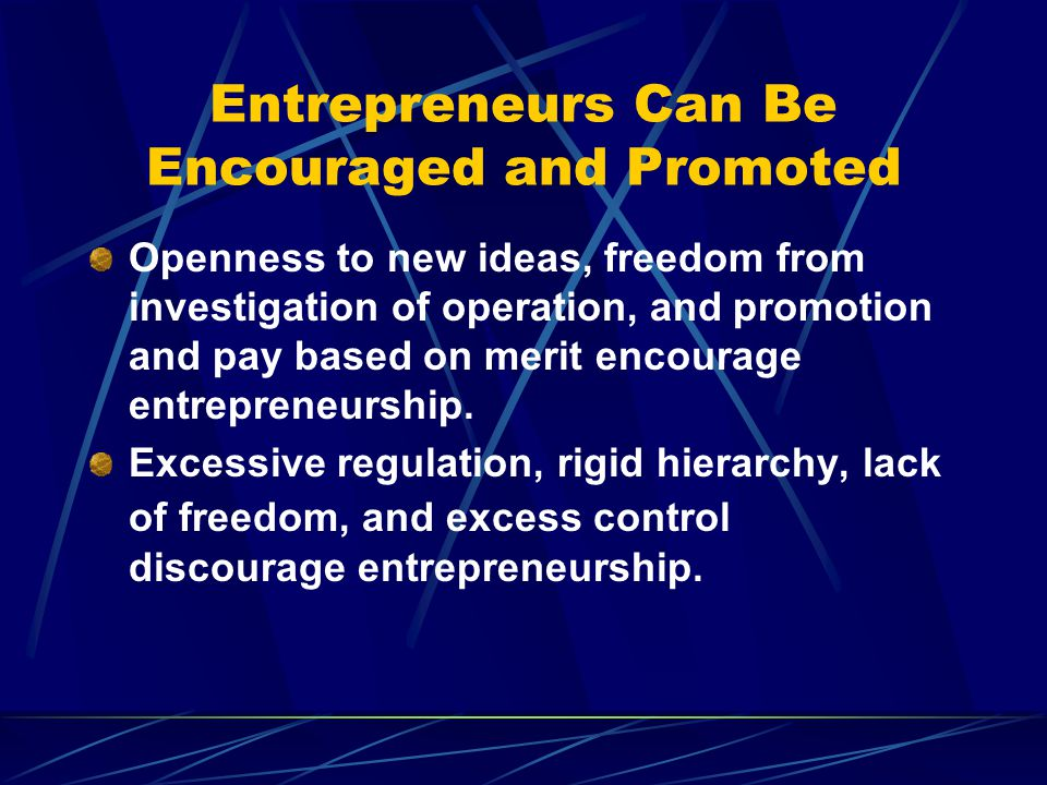 Entrepreneurs Can Be Encouraged and Promoted