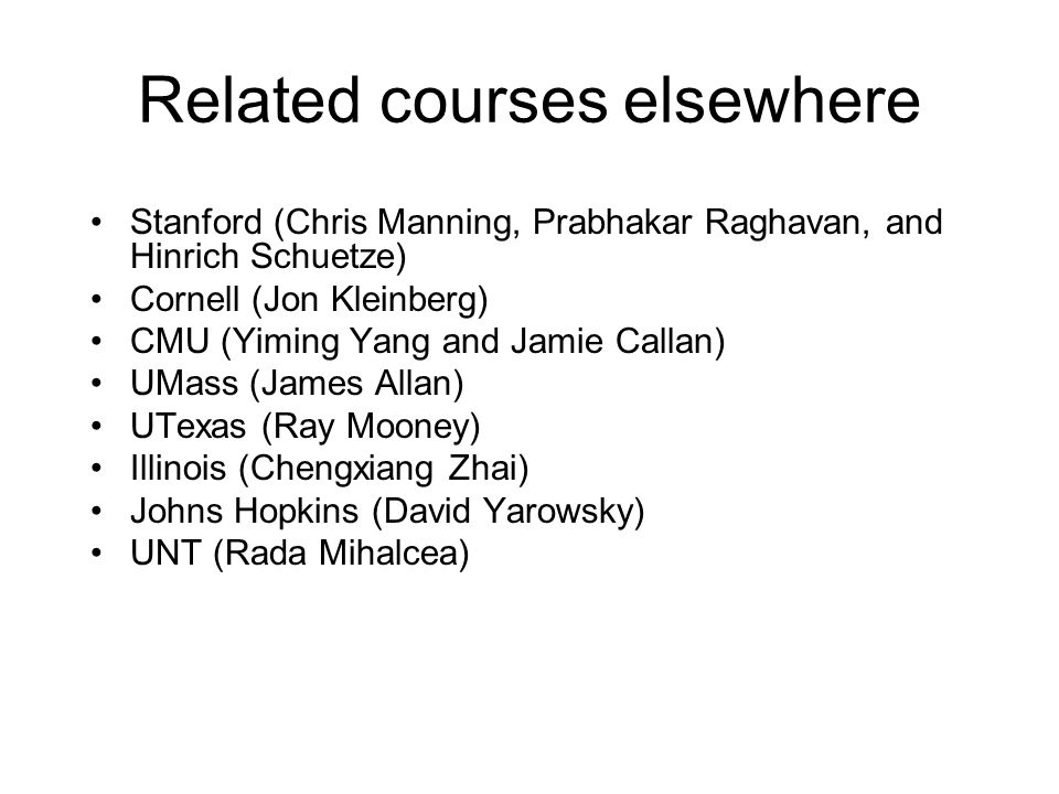 Related courses elsewhere