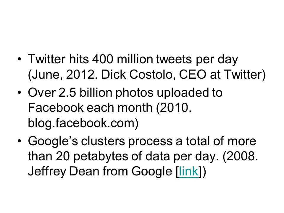 Twitter hits 400 million tweets per day (June, 2012
