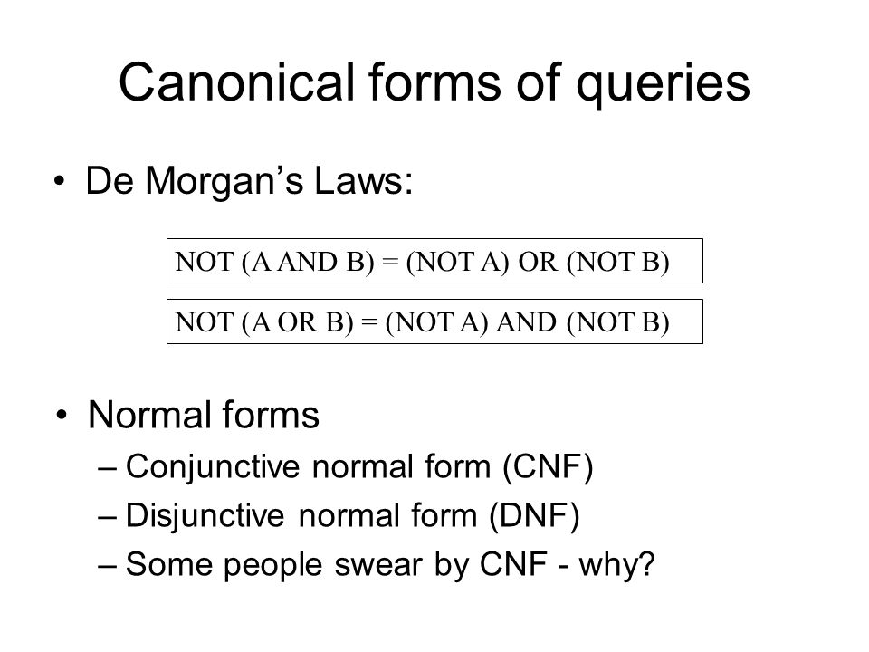 Canonical forms of queries