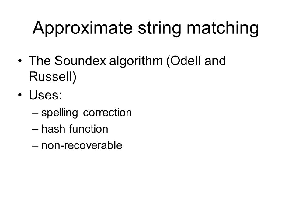 Approximate string matching