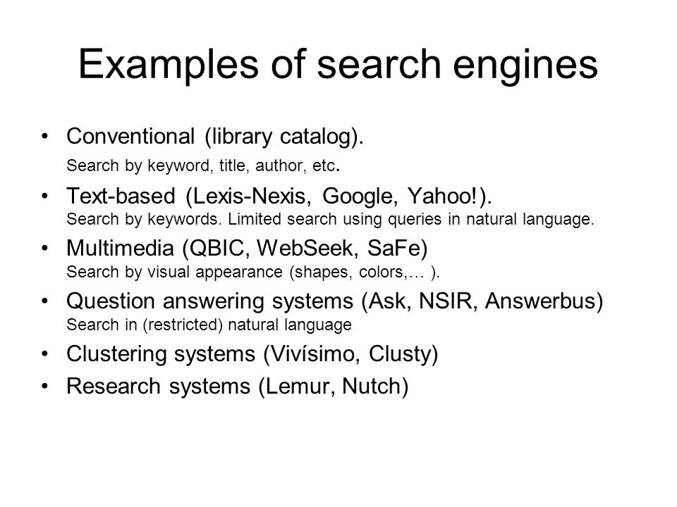Examples of search engines