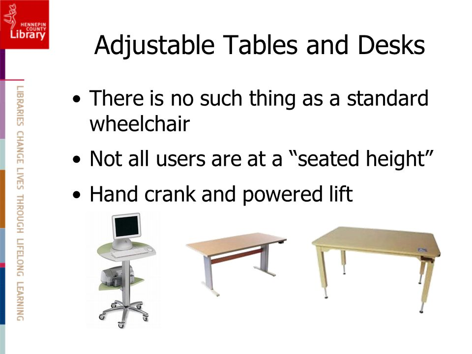 Adjustable Tables and Desks