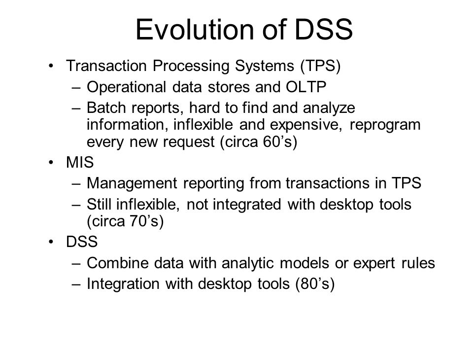 Evolution of DSS Transaction Processing Systems (TPS)