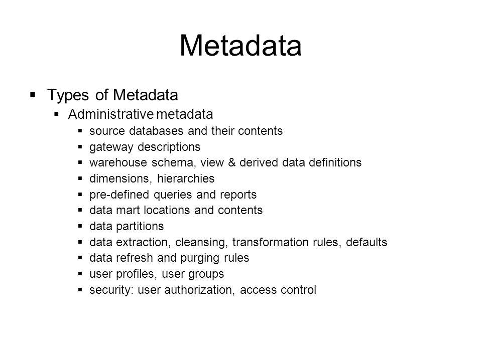 Metadata Types of Metadata Administrative metadata