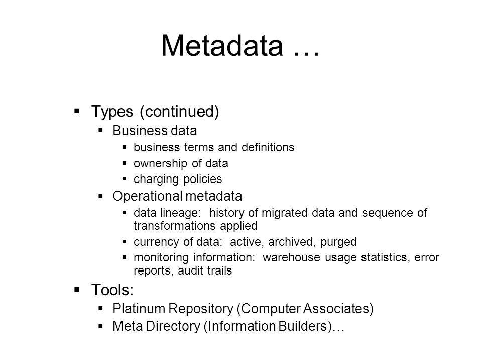 Metadata … Types (continued) Tools: Business data Operational metadata