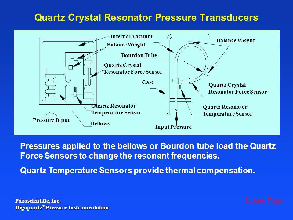 Quartz Crystal Resonator Pressure Transducers