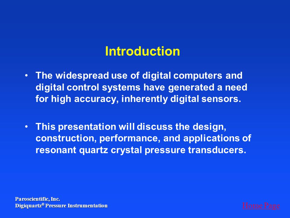 Introduction The widespread use of digital computers and digital control systems have generated a need for high accuracy, inherently digital sensors.