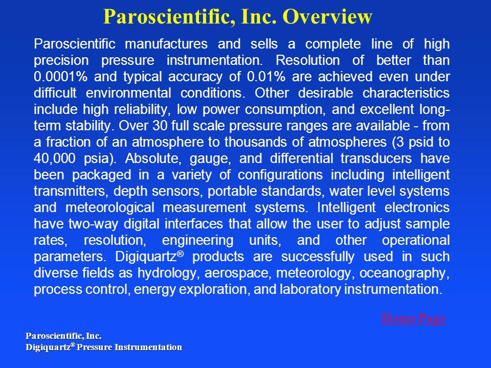 Paroscientific, Inc. Overview