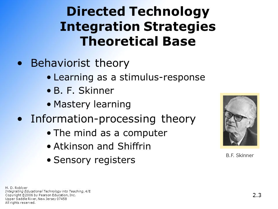 Directed Technology Integration Strategies Theoretical Base