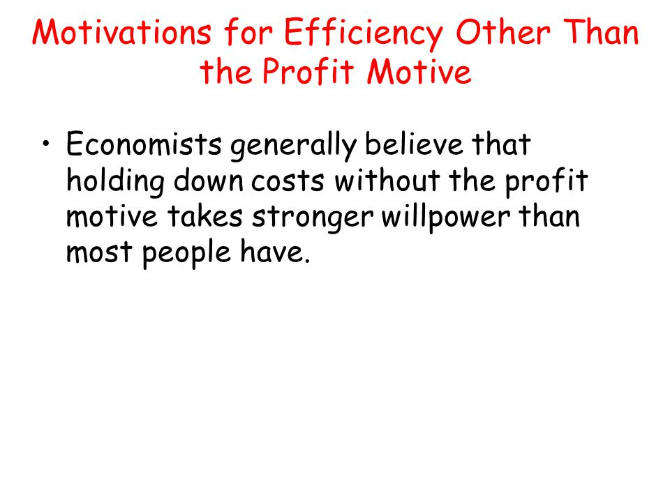 Motivations for Efficiency Other Than the Profit Motive