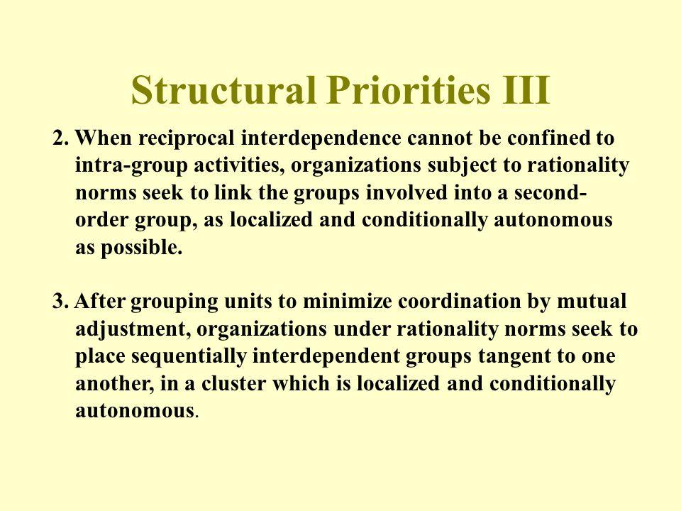 Structural Priorities III