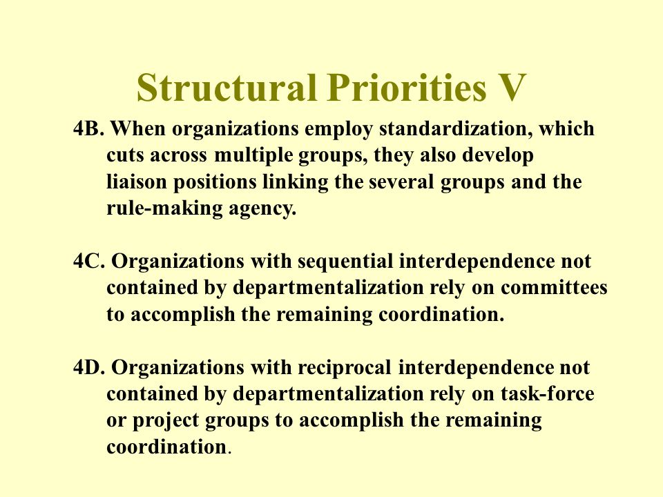 Structural Priorities V
