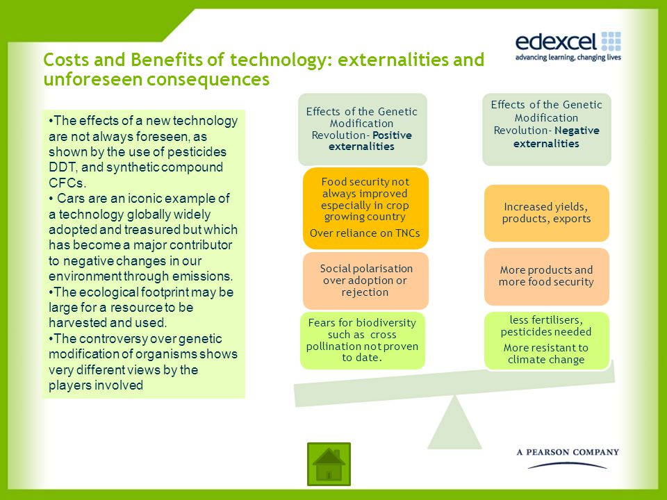 Costs and Benefits of technology: externalities and unforeseen consequences