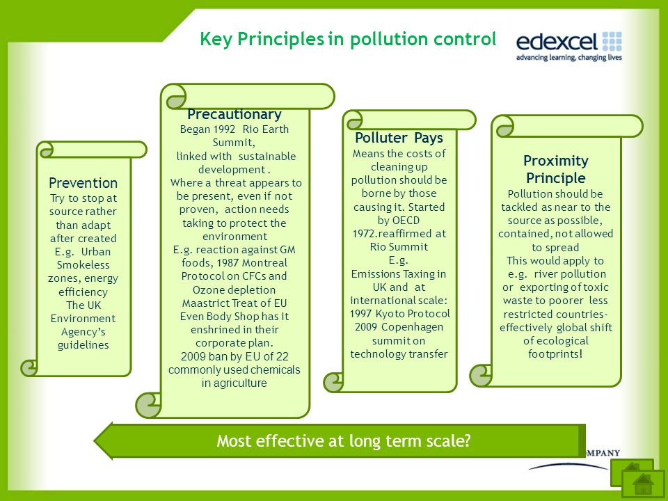 Key Principles in pollution control