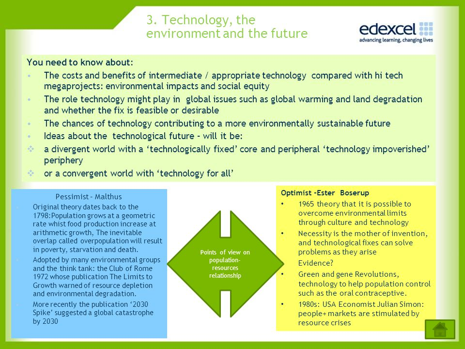 3. Technology, the environment and the future
