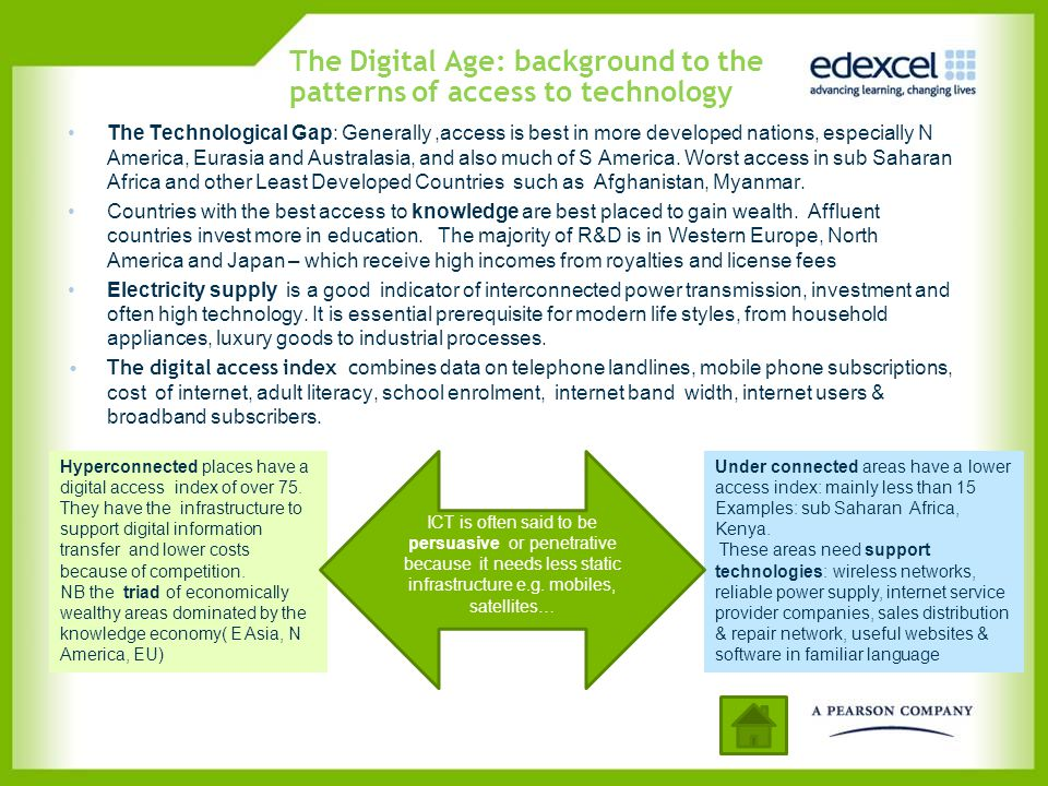 The Digital Age: background to the patterns of access to technology