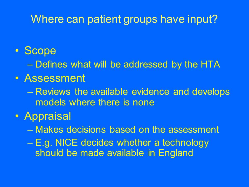 Where can patient groups have input