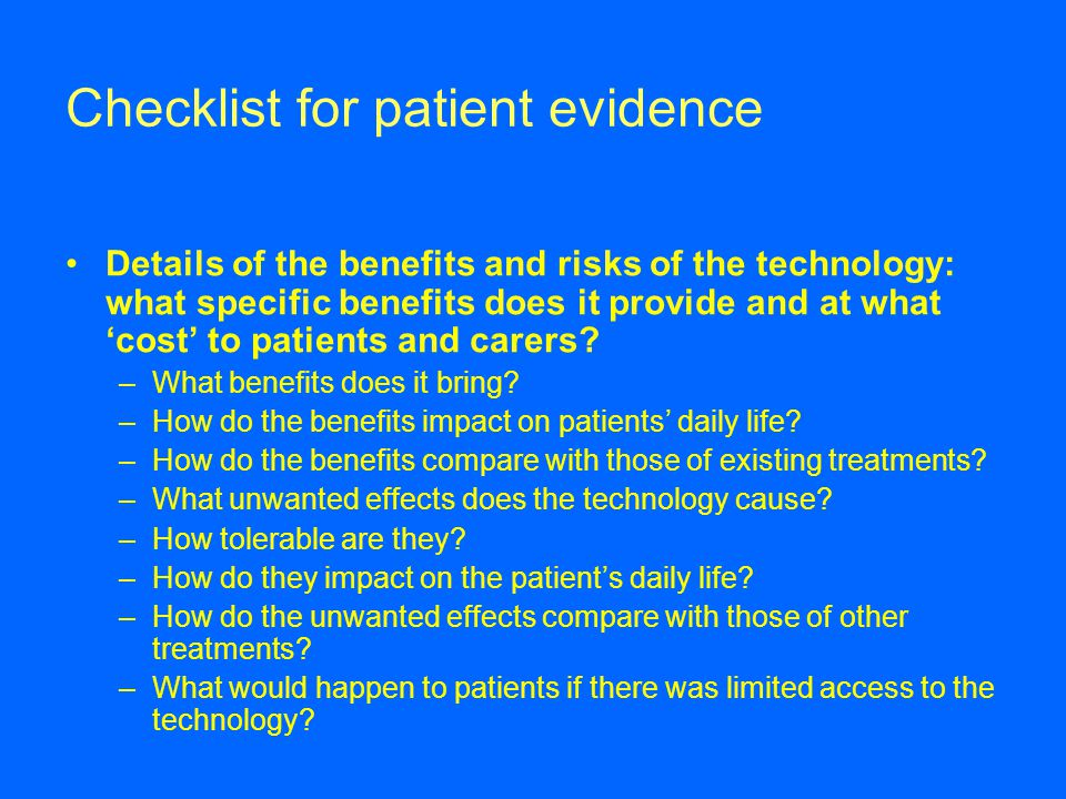 Checklist for patient evidence