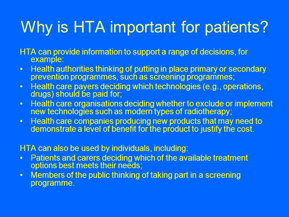 Why is HTA important for patients