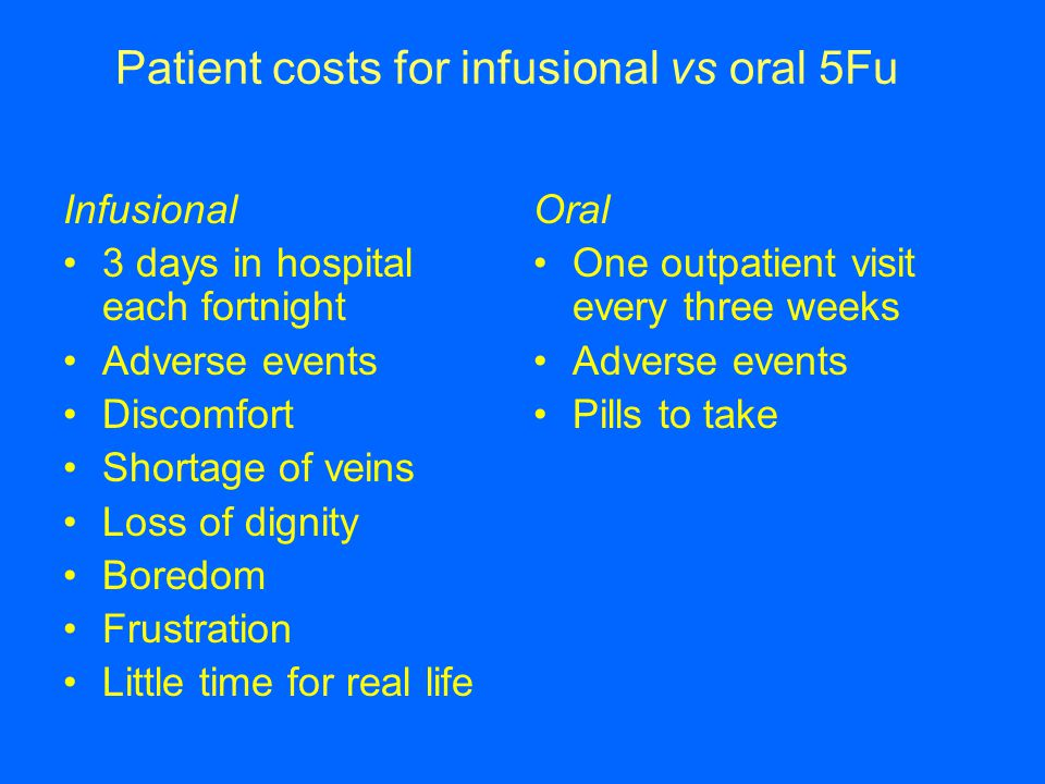 Patient costs for infusional vs oral 5Fu