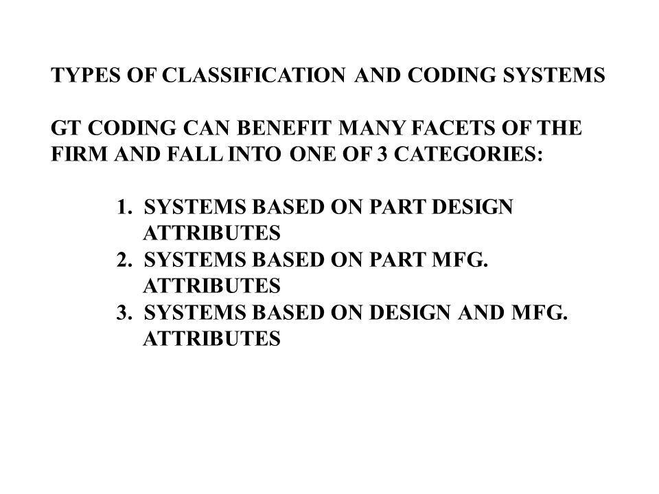 TYPES OF CLASSIFICATION AND CODING SYSTEMS
