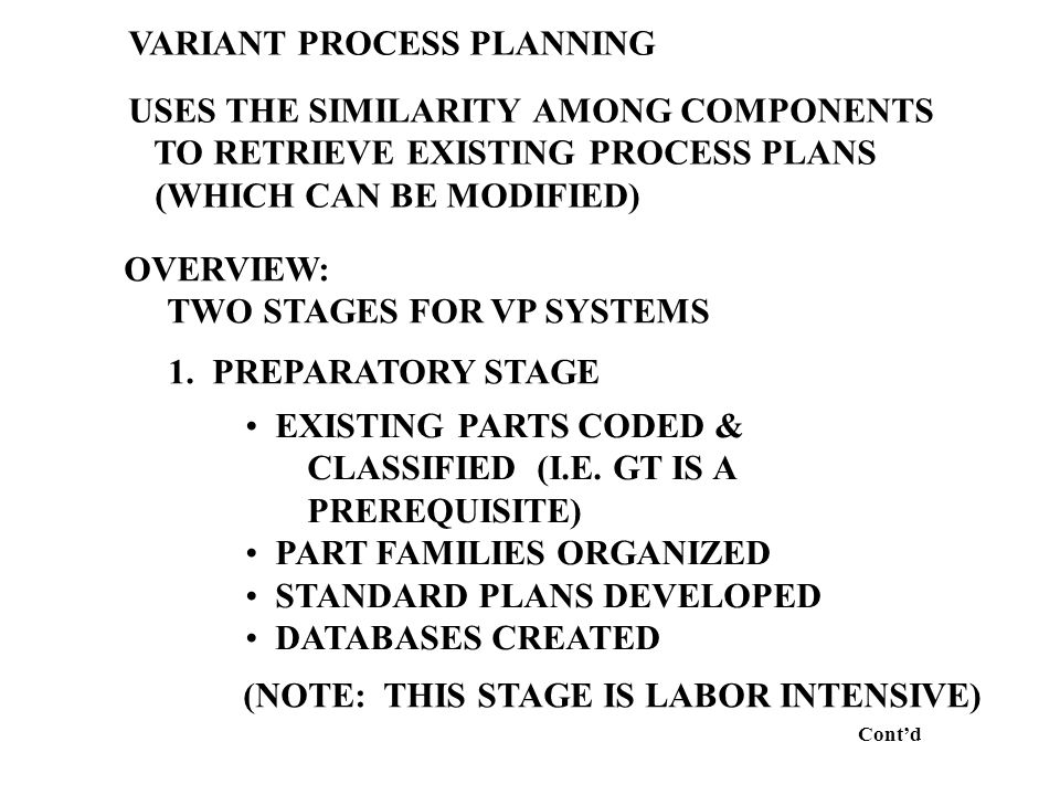 VARIANT PROCESS PLANNING USES THE SIMILARITY AMONG COMPONENTS