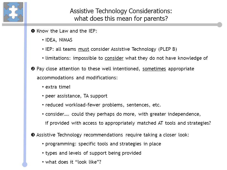 Assistive Technology Considerations: what does this mean for parents
