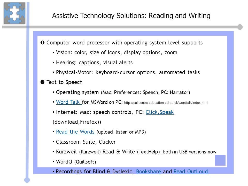Assistive Technology Solutions: Reading and Writing
