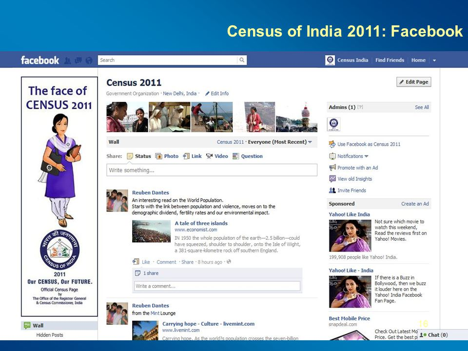 Census of India 2011: Facebook