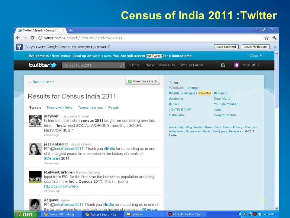 Census of India 2011 :Twitter