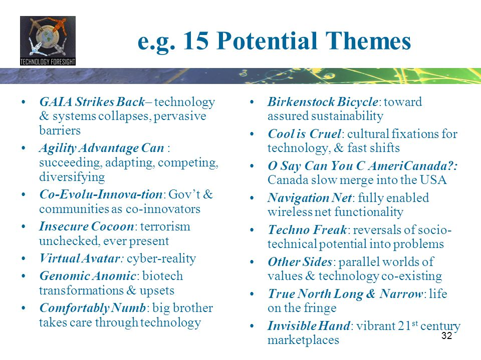 e.g. 15 Potential Themes GAIA Strikes Back– technology & systems collapses, pervasive barriers.