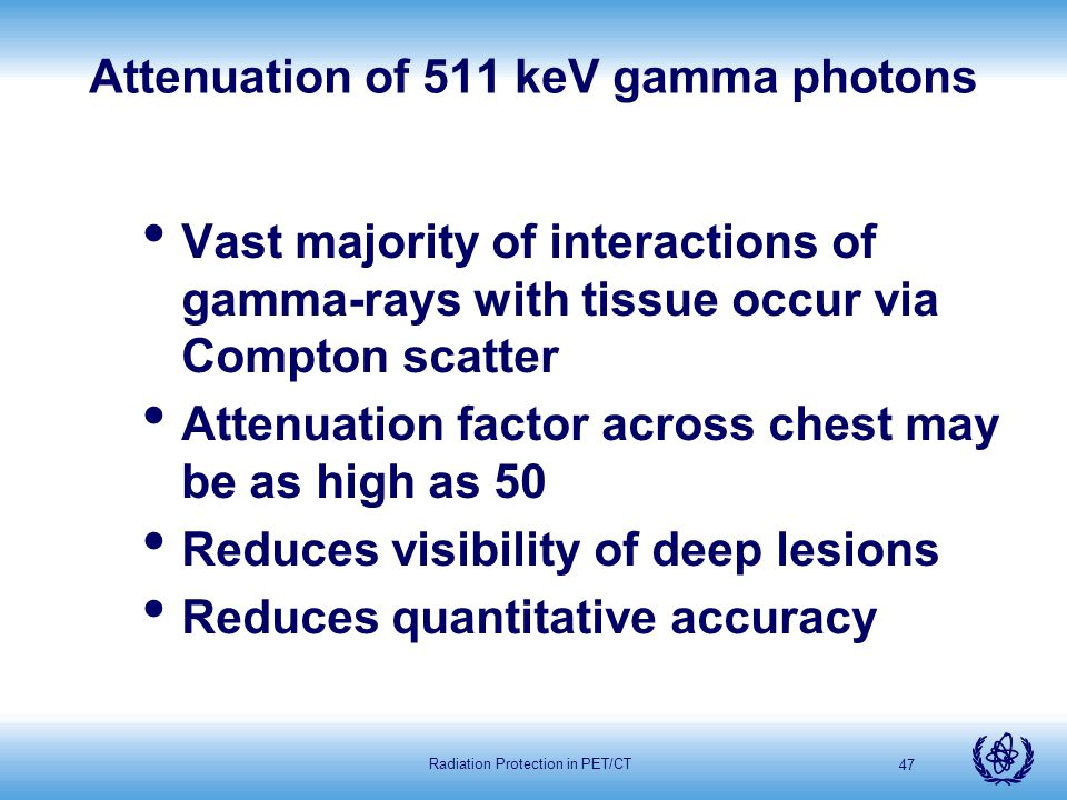 Attenuation of 511 keV gamma photons
