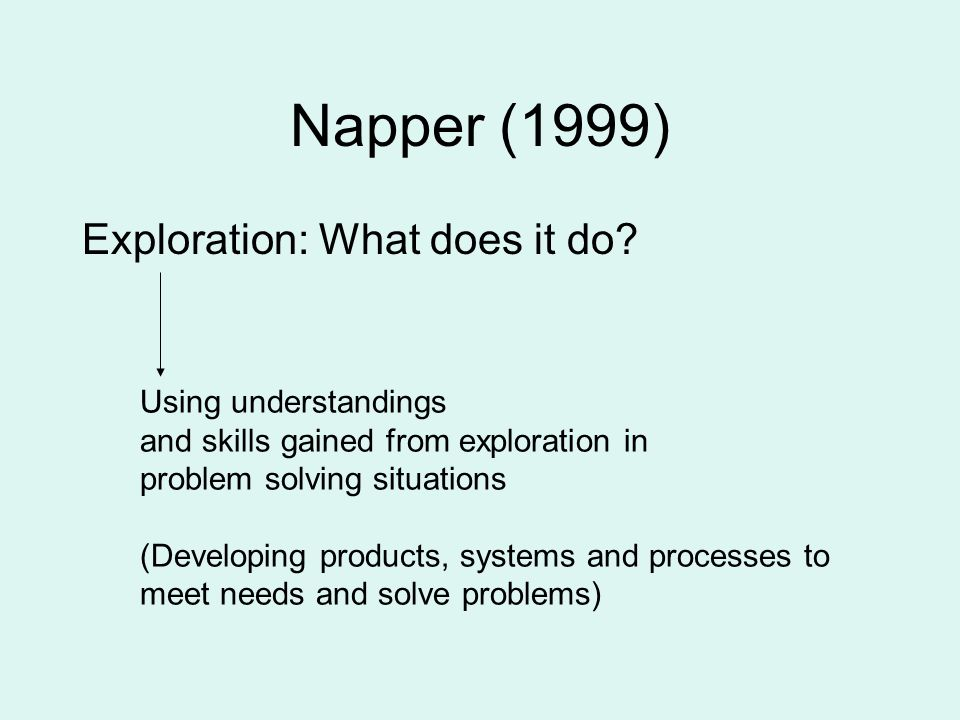 Napper (1999) Exploration: What does it do Using understandings