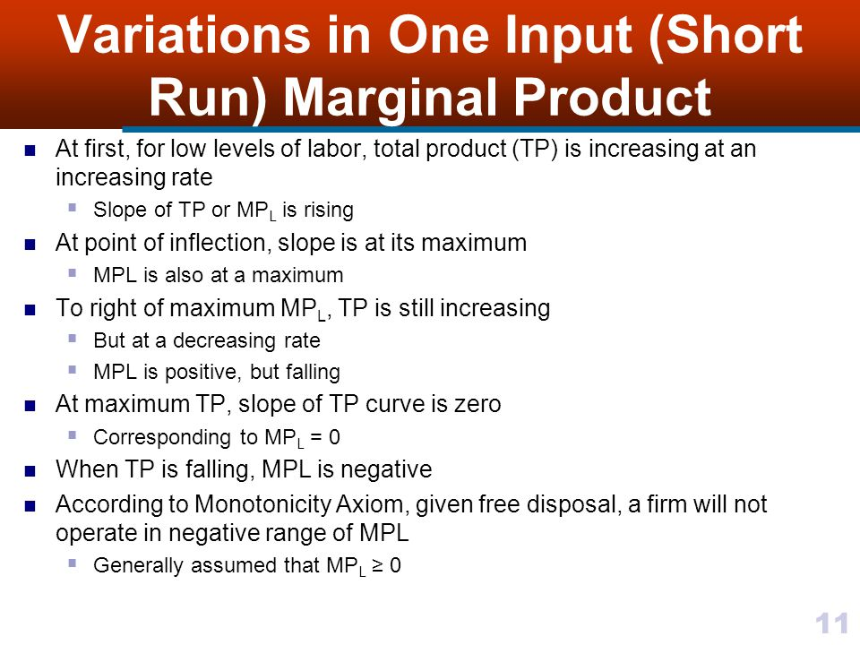 Variations in One Input (Short Run) Marginal Product