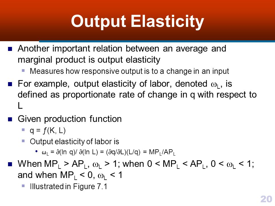 Output Elasticity Another important relation between an average and marginal product is output elasticity.