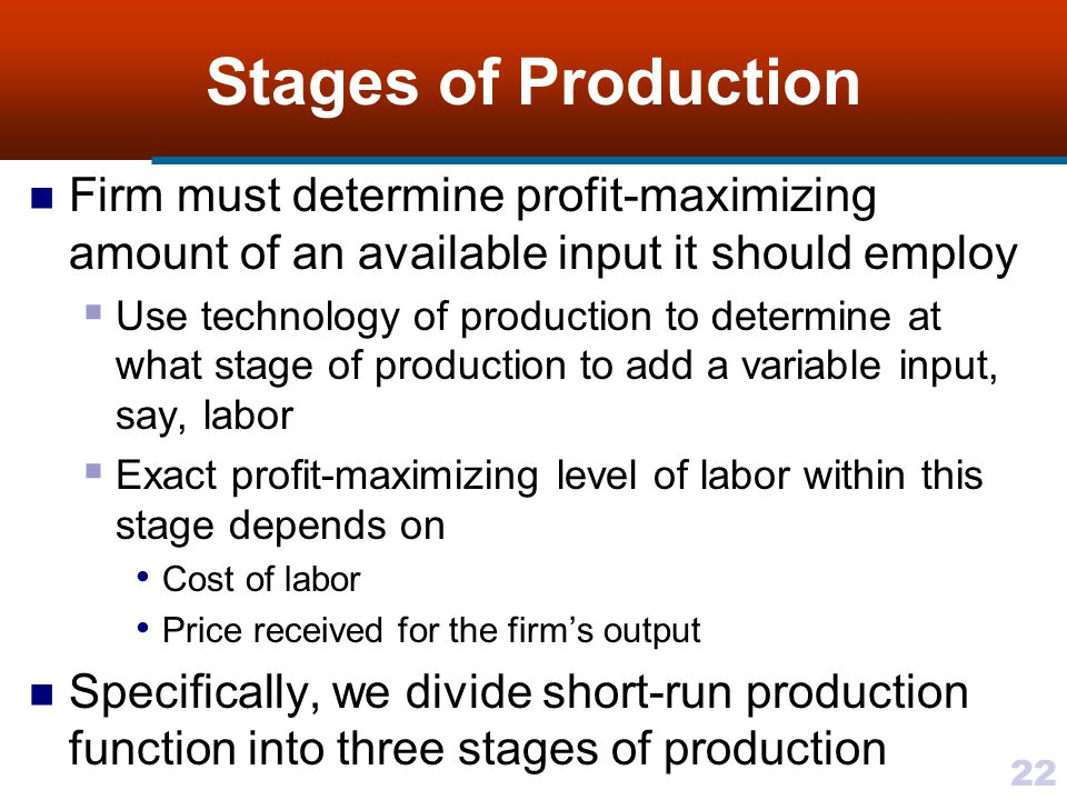 Stages of Production Firm must determine profit-maximizing amount of an available input it should employ.
