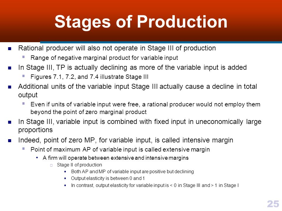 Stages of Production Rational producer will also not operate in Stage III of production. Range of negative marginal product for variable input.