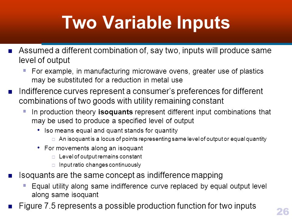 Two Variable Inputs Assumed a different combination of, say two, inputs will produce same level of output.