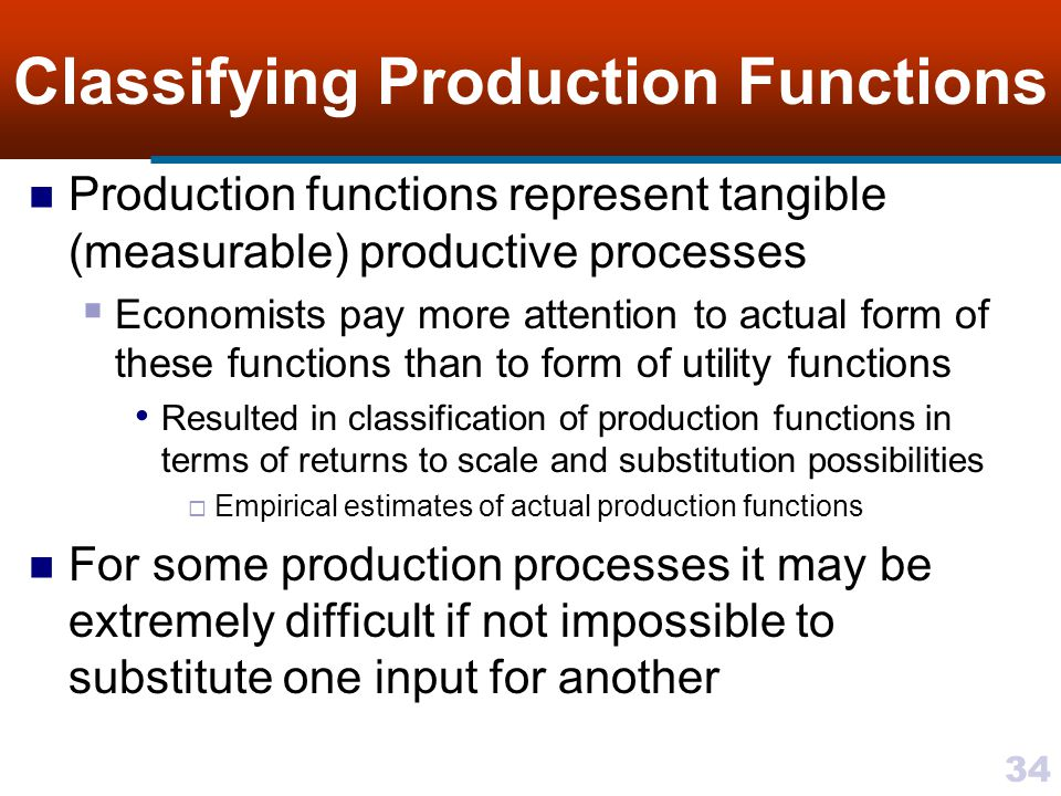 Classifying Production Functions