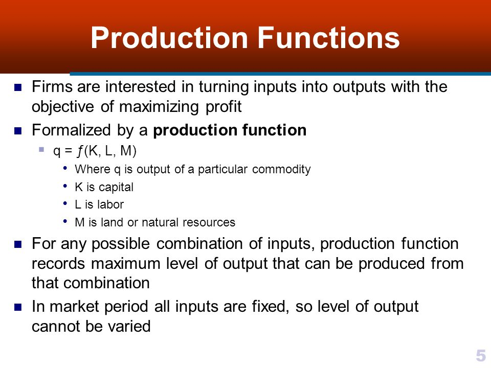 Production Functions Firms are interested in turning inputs into outputs with the objective of maximizing profit.