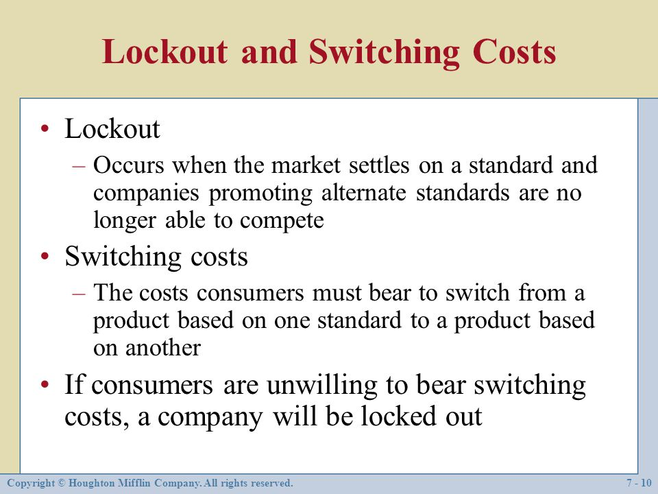 Lockout and Switching Costs