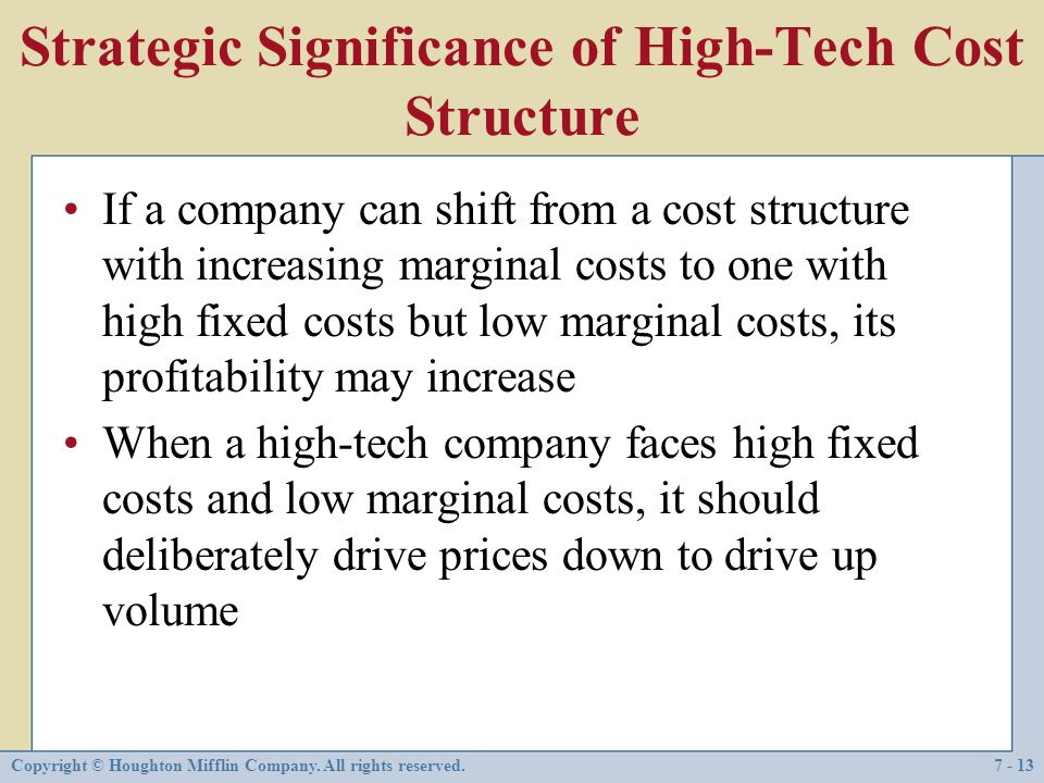 Strategic Significance of High-Tech Cost Structure