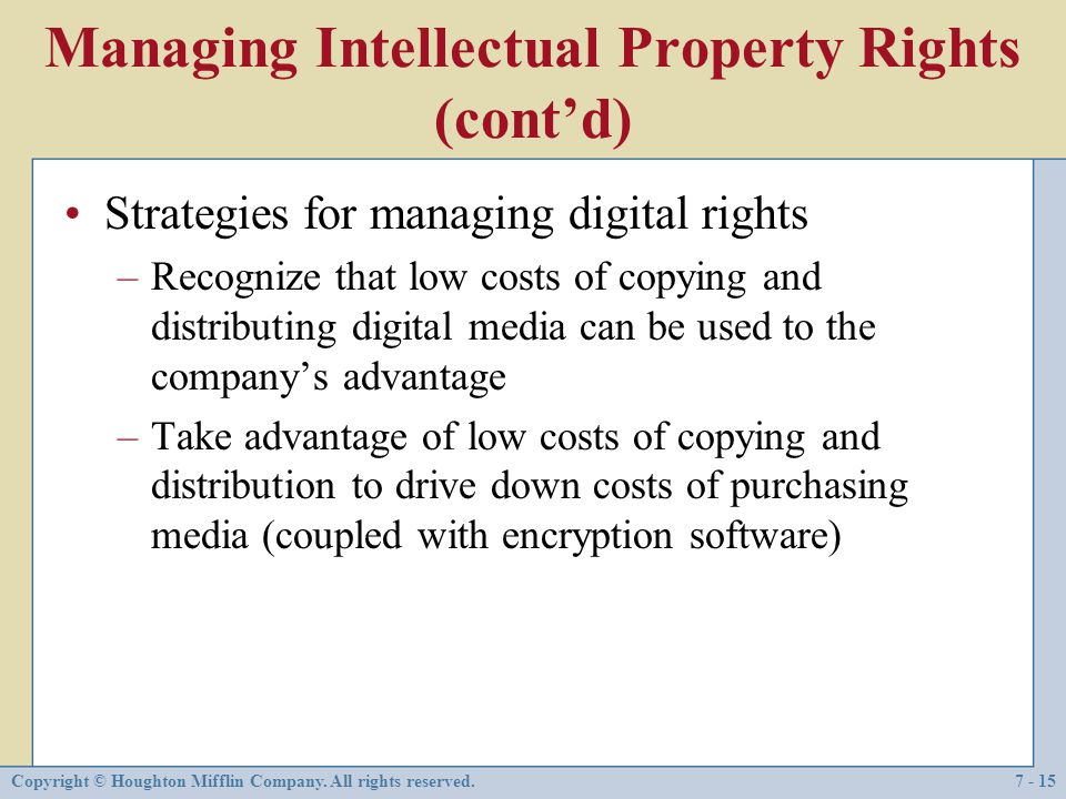 Managing Intellectual Property Rights (cont'd)