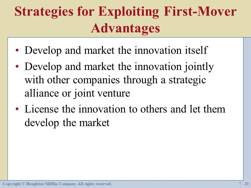 Strategies for Exploiting First-Mover Advantages